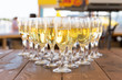 Party row of champagne glasses on table