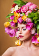 Beauty Spring Girl with Flowers Hair Style.  Spring Flower.Mothe