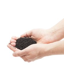 ground in human hands isolated on white background