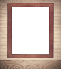 Brown wooden frame with white copy space hanging on brown brick