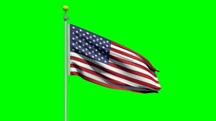 Waving American flag on a green screen