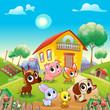 Funny farm animals in the garden