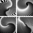 Vortex movement. Op art patterns set.