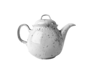White porcelain Teapot with water drops on white