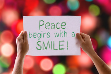 Peace Begins with a Smile card with colorful background