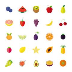Flat Design Isolated Fruit Vector Icon Set