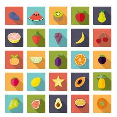 Flat Design Fruit Square Vector Icon Set