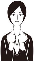 ビジネスパーソン:「がんばる!」女性会社員-モノクロ版