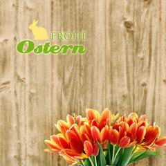 frohe ostern mit häschen und tulpen