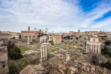 Roman Forum northwest side, view from Palatine hill.