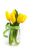 Yellow tulips isolated on white background. Selective focus.