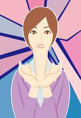ビジネスパーソン:「驚く!」女性会社員+背景