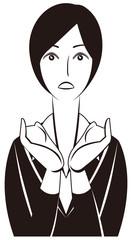 ビジネスパーソン:「驚く!」女性会社員-モノクロ版