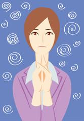 ビジネスパーソン:「困惑する」女性会社員+背景