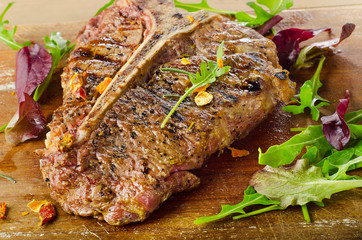 Grilled T-Bone Steak with Fresh Herbs