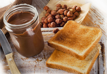 Fresh Toast bread and jar of chocolate spread