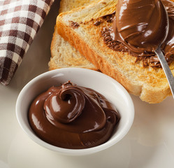 Toast with chocolate spread for breakfast