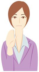 ビジネスパーソン:毅然と「制止」する女性会社員