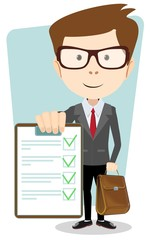 Successful young businessman with the document, vector