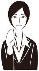 ビジネスパーソン:毅然と「制止」する女性会社員-モノクロ