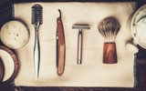 Fototapety Shaving accessories on a luxury wooden background