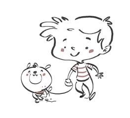 niño paseando a su perro