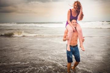 honeymooners couple at the beach