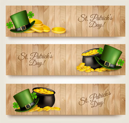 Three Saint Patrick's Day banners with lover leaves, green hat a