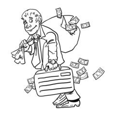 Businessman with money bag isolated on white background. Money.