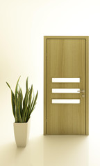 Wooden Door With A Plant