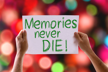 Memories Never Die card with colorful background