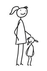 Mama mit Kind - kleines Mädchen - schüchtern