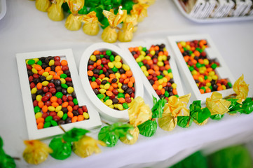 Love sweet and random colors Candies on wedding reception