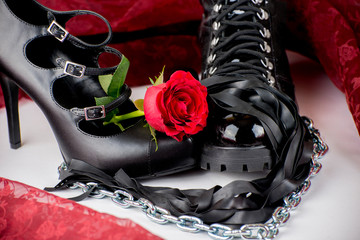 High heels and latex boots