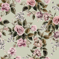 Seamless floral pattern with of roses on light background