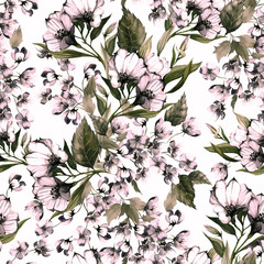 Seamless floral pattern with eustoma on light background