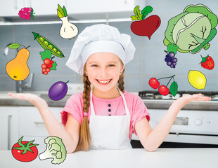 little girl with the flying fruits