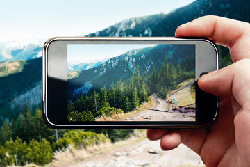 Smart phone mobile photo on mountain landscape