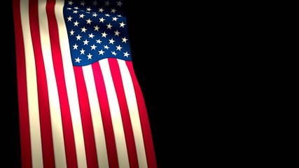 USA US Flag Vertical Closeup Waving CG