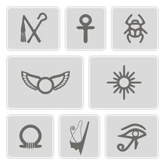 set of monochrome icons with Egyptian symbols