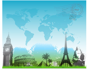 Beautiful Travel europe background vector illustration