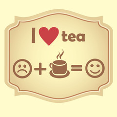 I love tea. Retro vector  icon.