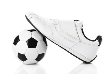 shoes and a football isolated on white background.   soccer ball