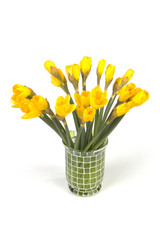 bunch of daffodils in a vase isolated on white background