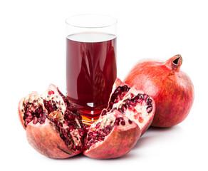 Pomegranate isolated on white background. Pomegranate juice