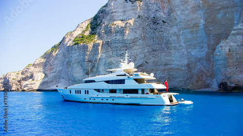 Fotobehang Mediterraans Europa Luxury white yacht navigates into beautiful blue water near Zaky