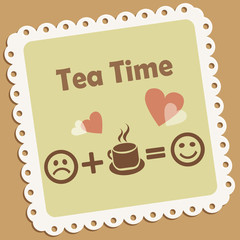 Tea time. Retro vector icon with smile and hearts.