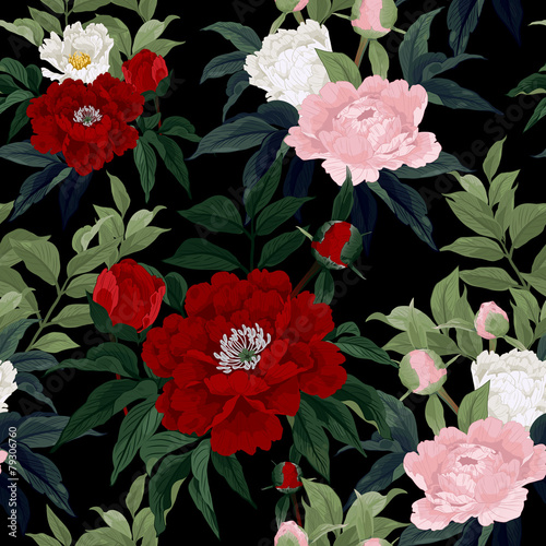 Seamless floral pattern with red, pink and white roses on black - 79306760