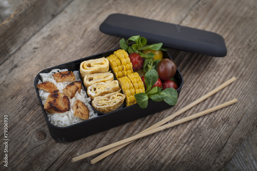 Staande foto Restaurant Bento box with different food
