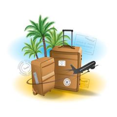 Travel suitcase background summer beach